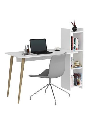 DemonteDekor Çalışma Masası Beyaz-Safir Meşe Beyaz